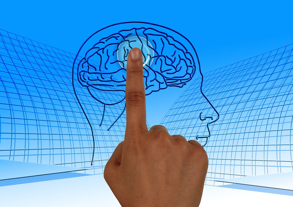 Finger touching diagram of brain.  Representing Neurofeedback treatment.